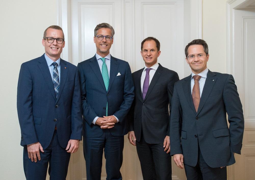 Investorenbeirat der Initiative Deutsche Infrastruktur (von links): Alexander Mayer, Michael Rieder, Ulf Loleit, Axel-Rainer Hoffmann. (© Martin Joppen)