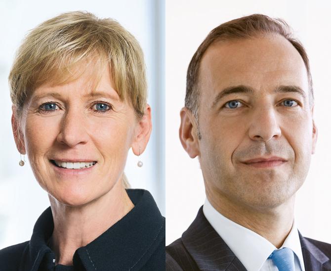 Susanne Hellmann, Abteilungsleiterin Vertrieb Institutionelle Anleger, Dekabank und Joachim Schallmayer, Leiter Kapitalanlagen und Strategie bei der DekaBank