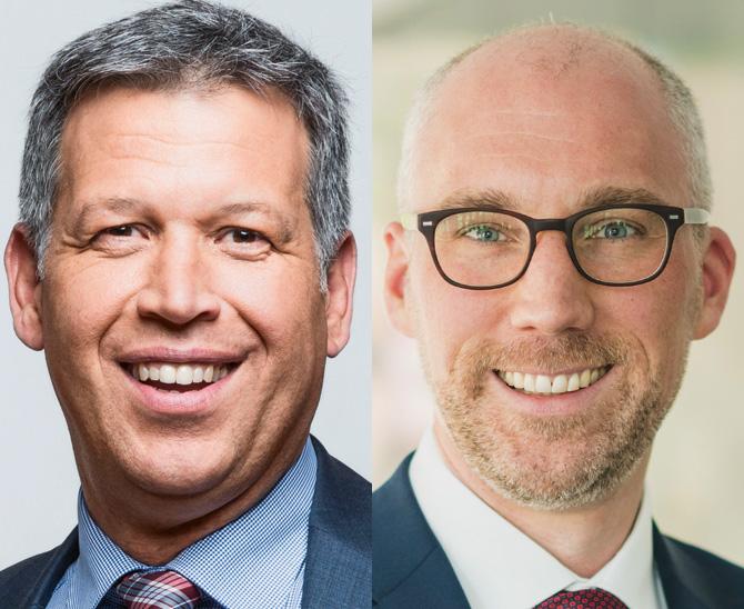 Matthias Wenzel, Leiter Portfoliomanagement Renten Euro Core bei der MEAG (links), und Frank Becker Geschäftsführer Institutionelle Kunden der MEAG.
