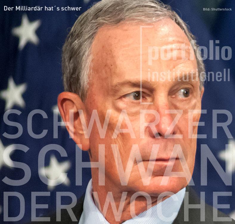 Foto von Michael Bloomberg, Schwarzer Schwan der Woche von portfolio institutionell
