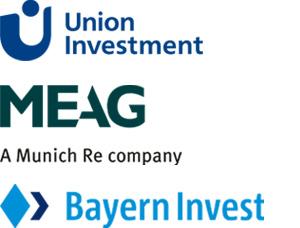 LOgos von Meag, Union Investment und Bayern Invest