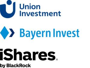 Logos von Union Investment, Ishares und Bayern-Invest