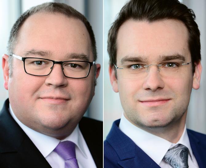 Stefan Schuckmann, Leiter Risikomanagement (links), und Johannes Gutzmann, Stellvertretender Leiter Risikomanagement, HanseMerkur Trust AG
